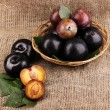 Stock Photo: Rip plums on basket on sacking