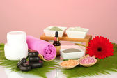 Cosmetic clay for spa treatments isolated on colorful background — Stock Photo