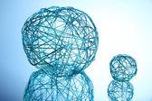 Beautiful decorative balls, on blue background — Stock Photo