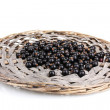 Black currant on wicker mat isolated on white - Stock Photo