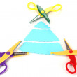 Colorful zigzag scissors with color patterns isolated on white — Stock Photo
