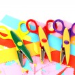 Colorful zigzag scissors with color paper isolated on white — Foto de Stock