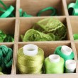 Green thread and material for handicrafts in box close-up — Stock Photo #12713194