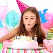 Little beautiful girl celebrate her birthday - Stock Photo