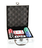 Poker set in metallic case isolated on white background — Stock Photo