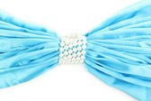 Modrého sukna s perlami izolovaných na bílém — Stock fotografie