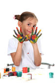 Cute little girl with paint on hands, isolated on white — Stock Photo