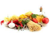 Pasta spaghetti, vegetables and spices, isolated on white — Stock Photo