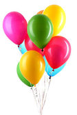 Hand holds colorful balloons isolated on white — Stok fotoğraf