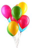 Renkli balon üzerinde beyaz izole elini tutar — Stok fotoğraf