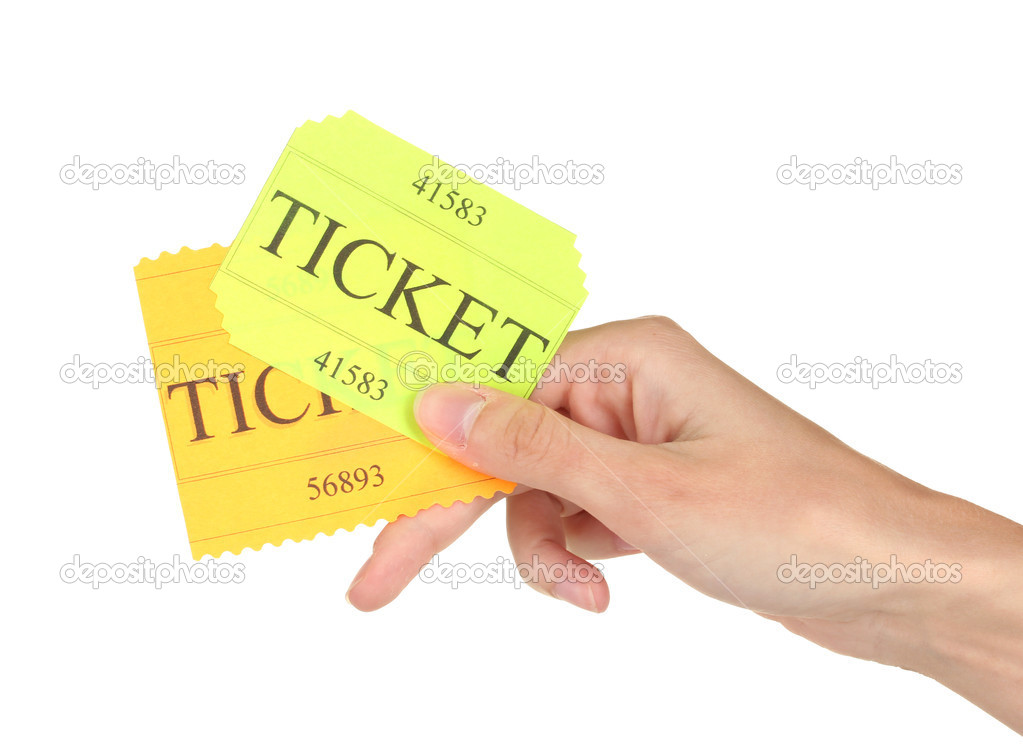 Woman's hand holding a colorful tickets on white background close-up — Stock Photo #12712429