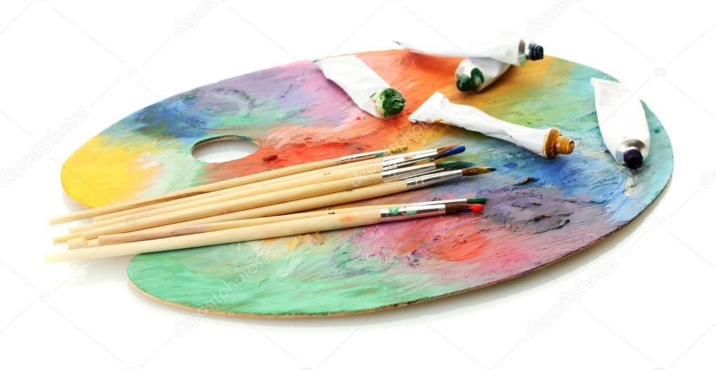 Peinture acrylique des tubes de peinture et des pinceaux for Peinture palette