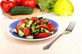 Fresh salad with tomatoes and cucumbers — Stock Photo