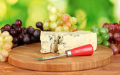 Cheese with mold on the cutting board with grapes on bright green backgroun — ストック写真