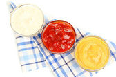 Various sauces isolated on white — Stock Photo