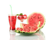 Refreshing desserts of watermelon isolated on white — Stock Photo