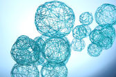 Beautiful decorative balls, on blue background — Stock Photo