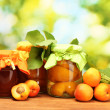 Canned apricots in a jars and sweet apricots on wooden table on green backg — Stock Photo