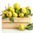 Juicy flavorful pears in box isolated on white — Stock Photo #12752184