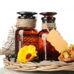 Medicine bottles and calendula, isolated on white — Stock Photo #12765767