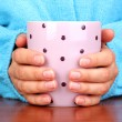 Hands holding mug of hot drink close-up — Stock Photo #12765797
