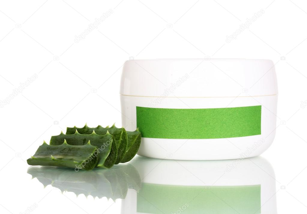 Jar of cream with aloe vera isolated on white — Stock Photo #12765804