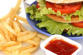 Big and tasty hamburger on plate with cola and fried potatoes close-up — Stock Photo