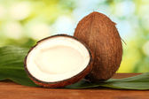 Coconut with green leaf on green background close-up — Stock Photo
