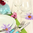 Beautiful holiday table setting with flowers — Stock Photo #12797000