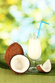 Glass of coconut milk and coconuts on green background close-up — Stock Photo
