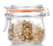 White currants in glass jar isolated on white — Stock Photo
