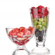 Mixed fruits and berries in glasses isolated on white - Stockfoto