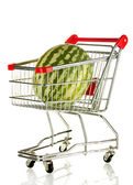 Ripe watermelon in metal trolley isolated on white — Stock Photo