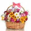 Beautiful bouquet of bright wildflowers in basket, isolated on white — Stock Photo #12867010