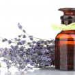Lavender flowers and glass bottle isolated on white — Stock Photo