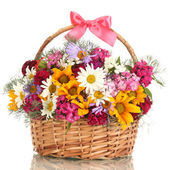 Beautiful bouquet of bright wildflowers in basket, isolated on white — Zdjęcie stockowe