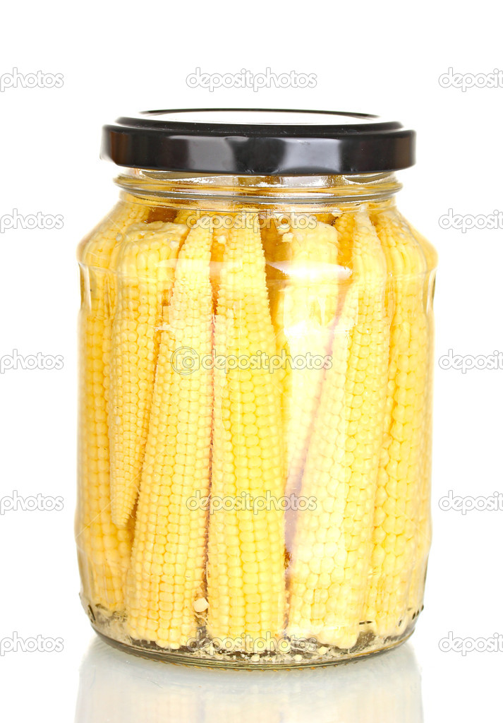 Jar of canned corn isolated on white — Stock Photo #12865921
