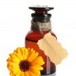 Medicine bottle and beautiful calendula flower, isolated on white — Stock Photo #12871473