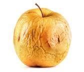 Pomme jaune comme concept de peau problème, isolé sur blanc — Photo