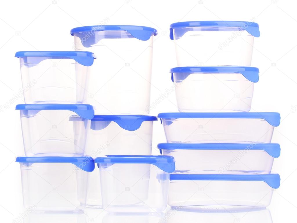 Plastic containers for food isolated on white — Stock Photo #12871884