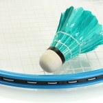 Badminton racket and shuttlecock, close up — Stock Photo