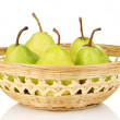 Ripe pears in wicker basket isolated on white — Stock Photo #12888999