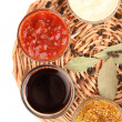 Stock Photo: Various sauces on wicker mat