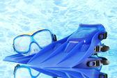 青いひれと青い海の背景マスク — ストック写真