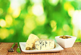 Composition of blue cheese and olives on bright green background close-up — Stock Photo
