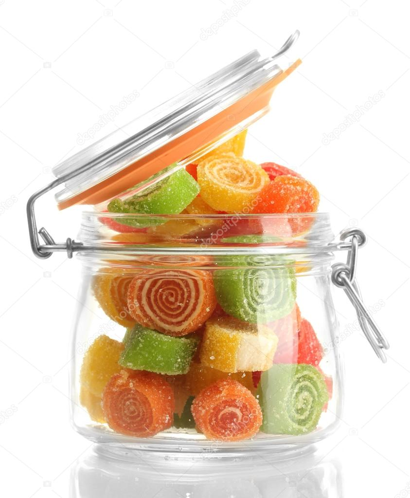 Colorful jelly candies in glass jar isolated on white — Stock Photo #12888943