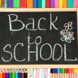 The words 'Back to School' written in chalk on the small school desk with v - Foto Stock
