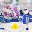 serving fabulous wedding table in purple and blue color of the restaurant b — Stock Photo