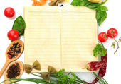 Book for recipes, vegetables and spices, isolated on white — Stock Photo