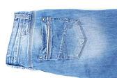 Close-up do blue jeans moda isolado no branco — Foto Stock